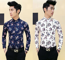 New Men's Chic Floral Print Slim Fit Button Front Party Casual Shirt Top M-XXL