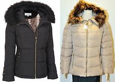 Calvin Klein coat Faux Fur Hooded Puffer Beige Black Down Jacket Coat OBO