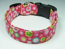 Charming Pink w/ Lime Green Flowers & Circles Standard Adjustable Dog Collar