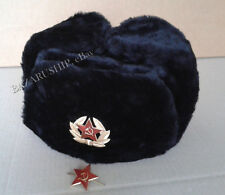 Russian Ushanka Winter Fur Hat Military Style + 2 Soviet Army Badges Red Star