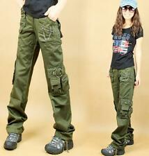 Fashion womens army green  cargo overalls cotton casual pants trousers SZ 27-32
