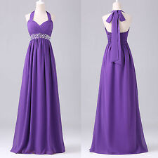 Purple Long Halter Bridesmaid Dress Chiffon Formal Evening Prom Gowns Backless