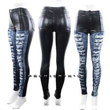 High Waist Skinny Jeans Black Faux Leather Blue Acid Wash Ripped Denim Pants