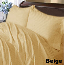 SUPREME 1000TC 100% COTTON BEIGE STRIPE BEDDING SET CHOOSE YOUR ITEM & SIZE