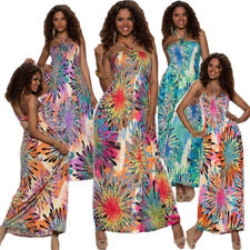 Maxi Dress Bandeau Halter Neck Flowers One Size Fits All 34 36 Party Dance long