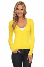 Yellow Sweater Cardigan for Women V Neck Cotton Long Sleeve Button Cardigan