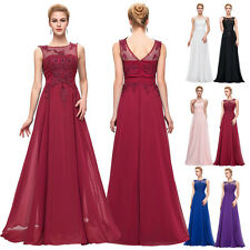 Beads Long Chiffon Bridesmaid Formal Gowns Party Evening Prom Dress PLUS SIZE