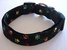 Charming Black with Multi Colored Paws Dog Collar