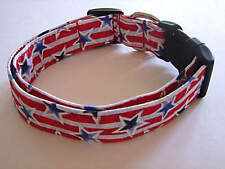 Charming 4th of July Red & White Stripes & Blue Stars Dog Collar