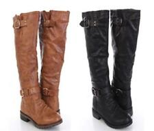Women Shoes - Faux LEATHER BOOTS Buckled Strapped Riding Mid Calf -Black Camel