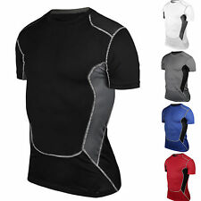 Mens Compression Armour Base Layer Top Short Sleeve Thermal Gym Sport Shirt Gear