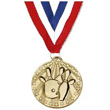 TEN PIN BOWLING MEDAL 50mm GOLD SILVER BRONZE FREE RIBBON RED WHITE BLUE AM1140R