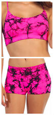 Neon Pink/Blue Tie-Dye Outfit Seamless Dance Bra Top & Shorts- Child/Adult OSFA