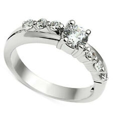 0.48ct Clear CZ Center Stone Silver Rhodium EP Bridal Ladies Ring