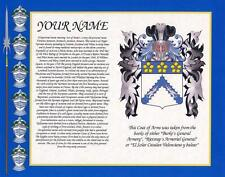 """HERITAGE COAT OF ARMS WITH SURNAME HISTORY PRINT 10"""" x 8"""" & FREE A4 NAME HISTORY"""