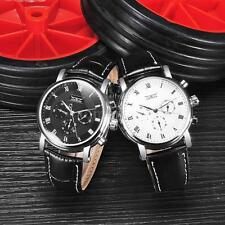 Fashion Mens Automatic Mechanical Watch Leather Calendar Wristwatch Gift TM N6R5