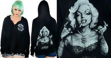 Too Fast Burnout Jersey Hoodie Bling Marilyn Monroe Tattoo Sweatshirt 50s Punk