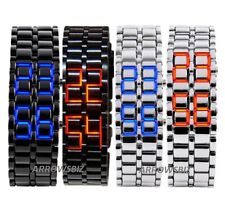 Volcanic Lava Samurai Metal LED Faceless Bracelet Wrist Watch Stainless Steel