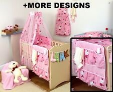 PINK TEEDY STAR  COT ORGANIZER + NURSERY COT - COT BED SET WITH CANOPY + MORE