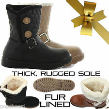 WOMENS LADIES FLAT MID CALF QUILTED FUR LINED GIRLS WINTER SNOW BOOTS SIZE