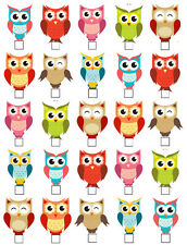 25 CUTE OWLS STAND UP EDIBLE WAFER CARD OR PAPER CUPCAKE CAKE TOPPERS