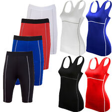 Womens Compression Tights Base Layer Top Gym Under Skins Vest Shorts Sports Wear