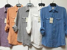 NEW MURANO Solid Linen Men's Slim Fit Dual Buttoned Pocket Casual Shirt M, L,XL