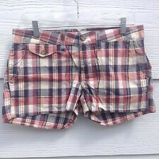 Lucky Brand Cotton Plaid Shorts Red Blue Short & Sexy Fit New Nwt
