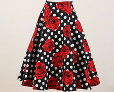 Retro 1950s rockabilly circle skirt polka dot black white red rose print