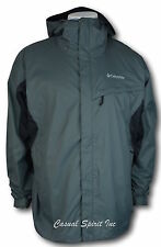 New Columbia mens waterproof Omni Tech hooded rain jacket S M L XL Dark Gray