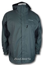 Columbia mens waterproof Omni Tech hooded rain jacket S M L XL Dark Gray