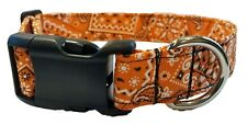 Orange Bandana Dog Collar cowboy Fabric country western puppy cowgirl cotton