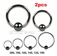 Steel Captive Bead Ring w/Hematite Plated Ball Ears Helix Cartilage Tragus Nose