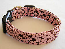 Charming Brown with Pink Flowers Dog Collar