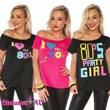 I Love the 80's T-shirt Costume Ladies 1980s 80s Fancy Dress Girls Top TShirt