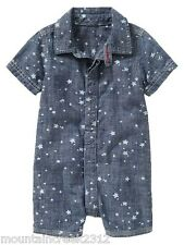 BABY GAP Boys Romper Size 3 6 months STAR Chambray Cotton One Piece Summer NEW