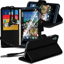 Leather Book Wallet Phone Case Cover+Stereo Headphones for HTC