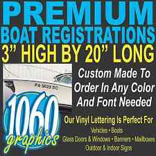 "3""H x 20""W BOAT REGISTRATION NUMBERS CUSTOM *PREMIUM* VINYL LETTERING DECAL SET"