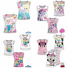 Girls T-Shirt Short Sleeve Top Frozen Minions My Little Pony Age 2-12 Cotton New