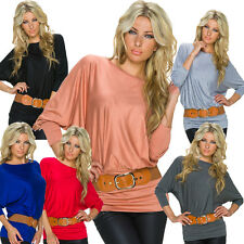 Women Shirt Long Sleeves 3/4 Belt One Size Fits All 34 36 38 T - Top