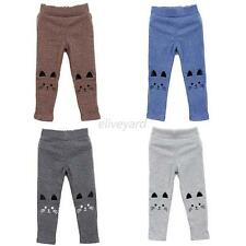 Baby Girl Kid Skinny Pants Cute Cat Pattern Warm Stretch Tight Leggings Trousers