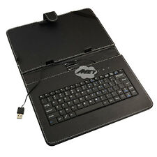 "Leather Cover Case USB 2.0 Keyboard for 10"" Tablet iPad MID PC PDA Android Black"