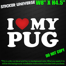 I Love My PUG Cute Vinyl Die Cut Decal Bumper Sticker | Dog Pet Breed Car Truck