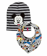 H&M baby boy Disney Mickey Mouse cotton jersey Hat and Triangular Scarf bib