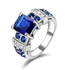 Size 6,7,8,9,10 Woman's Blue Sapphire 18K Gold Filled Fashion Wedding Ring Gift