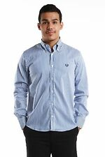 Authentic Fred Perry Green Label MADE IN ITALY Men White with Blue Stripes Shirt