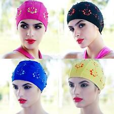 Women Ladies Hollow 3D Flower Floral Swimming Swim Bathing Hat Long Hair Cap New