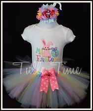 Baby's First Easter pink bunny onesie tutu dress outfit with bow N 0-3 3-6 12 m