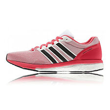 Adidas Adizero Boston Boost 5 Womens White Pink Running Sports Shoes Trainers