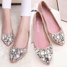 Lady Ballet Flats Shoes Fashion Rhinestone Moccasin Sandals Pointed Toe Loafers